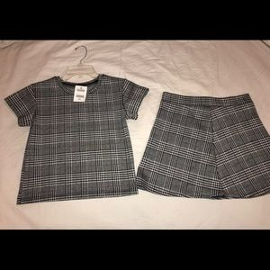 Matching black and white plaid skirt/shirt combo